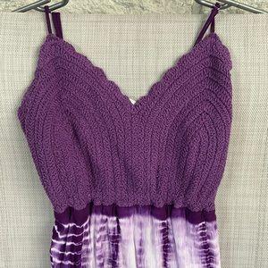 Charlotte Russe purple tie dye crochet dress m